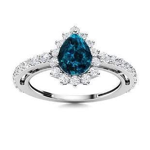 Natural 1.65 CTW Topaz & Diamond Engagement Ring 18K