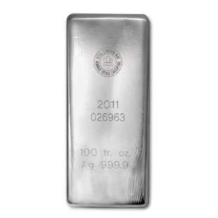 100 oz Silver Bar - Royal Canadian Mint (.9999 Fine)