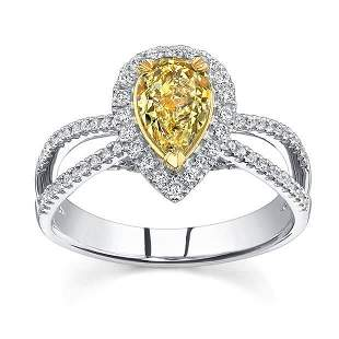 Natural 1.62 CTW Yellow Pear Cut Diamond Engagement