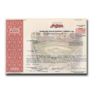 Cleveland Indians Baseball Company Stock Certificate
