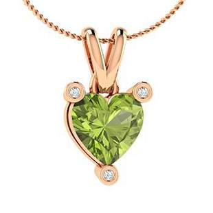 0.53 ctw Peridot & Diamond Necklace 18K Rose Gold