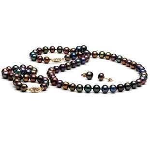 Black Freshwater Pearl 3-Piece Jewelry Set, 7.5-8.0mm