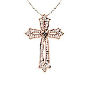 0.62 ctw White & Black Diamond Necklace 14K Rose Gold