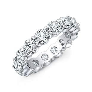 Natural 7.02 CTW Round Diamond Eternity Ring 18KT White