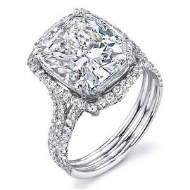 Natural 4.02 CTW Elongated Cushion Cut Halo Diamond