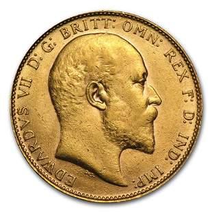 1902-1910 Great Britain Gold Sovereign Edward VII AU