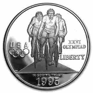 1995-P Olympic Cycling $1 Silver Commem Proof (w/Box &