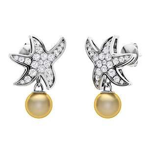 1.65 CTW Golden Pearl & Diamond Drops Earrings 14K