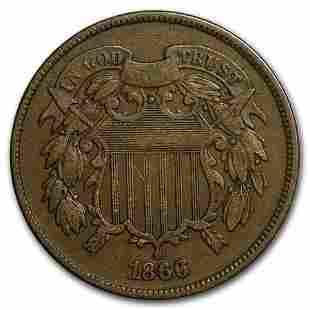 1866 Two Cent Piece Fine