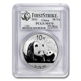 2011 China 1 oz Silver Panda MS-70 PCGS (FirstStrike®)