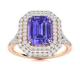 Natural 1.86 CTW Tanzanite & Diamond Engagement Ring