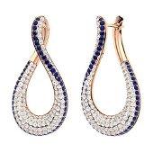2.3 CTW Sapphire & Diamond Drops Earrings 14K Rose Gold
