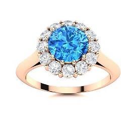 Natural 1.48 CTW Topaz & Diamond Engagement Ring 18K