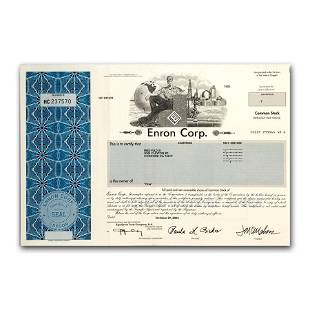 Enron Corp Stock Certificate