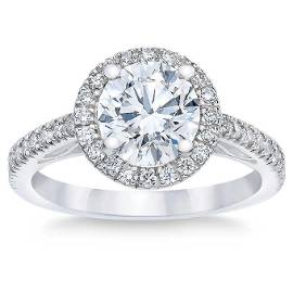 Natural 2.50 CT Diamond Bridal Ring 18K White Gold