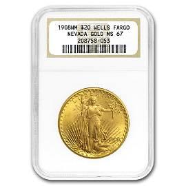 1908 $20 Saint-Gaudens Gold No Motto MS-67 NGC (Wells