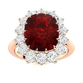 Natural 5.53 CTW Garnet & Diamond Engagement Ring 18K
