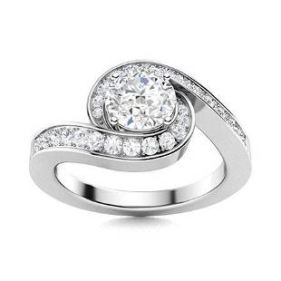 Natural 1.20 CTW Diamond Solitaire Ring 18K White Gold