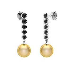1.77 CTW Black Diamond & Golden Pearl Drops Earrings