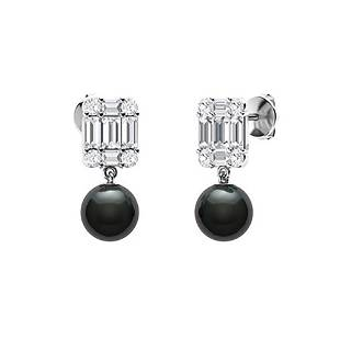 1.18 CTW Diamond Drops Earrings 18K White Gold