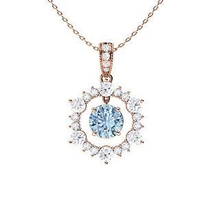 1.98 ctw Aquamarine & Diamond Necklace 18K Rose Gold