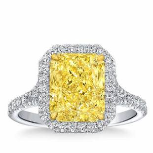 Natural 4.42 CT Diamond Bridal Ring 18K White Gold