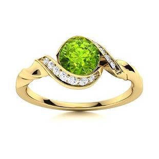 Natural 0.84 CTW Peridot & Diamond Engagement Ring 14K