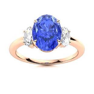 Natural 1.88 CTW Ceylon Sapphire & Diamond Engagement