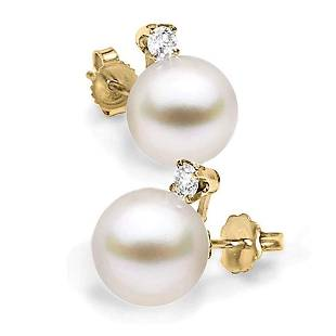 White South Sea Pearl and Diamond Glimmer Earrings