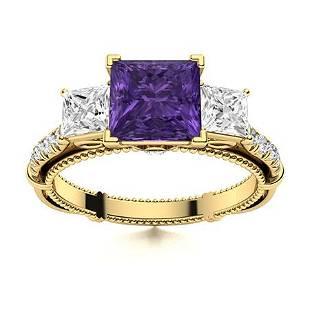 Natural 1.61 CTW Amethyst & Diamond Engagement Ring 14K