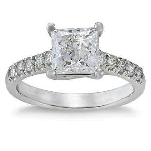 Natural 1.74 CT Diamond Bridal Ring 18K White Gold