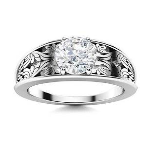 Natural 1.06 CTW Topaz Solitaire Ring 18K White Gold