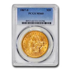 1867-S $20 Liberty Gold Double Eagle MS-60 PCGS