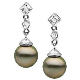 Black Tahitian Round Pearl and Diamond Royale Dangle