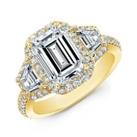 Natural 2.22 CTW Halo Emerald Cut & Trapezoids Diamond