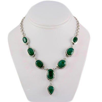 47.6g Elegant Silver Emerald Gemstone Nicklace