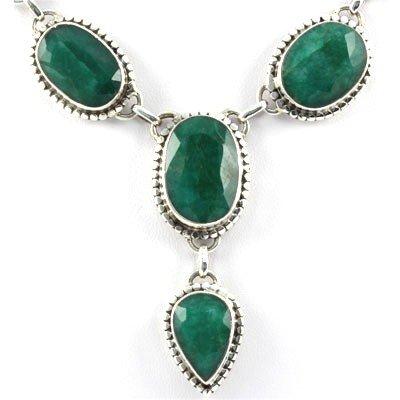 47.6g Elegant Silver Emerald Gemstone Nicklace - 2