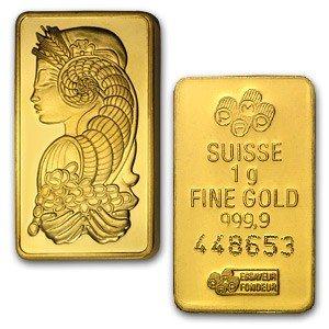 1004000001: 1 GRAM SUISSE GOLD BAR .9999 FINE GOLD 24K