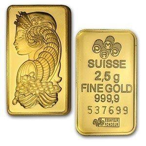 1004000002: 2.5 GRAM SUISSE GOLD BAR .9999 FINE GOLD 24