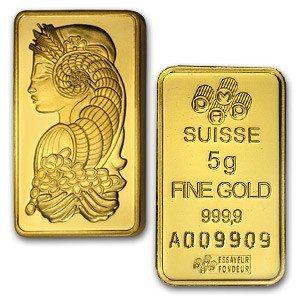 1004000003: 5 GRAM SUISSE GOLD BAR .9999 FINE GOLD 24K