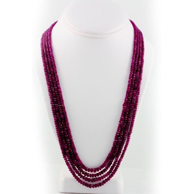 Superb Quality (AAA) Micro Faceted 4 Rows Natural Ruby
