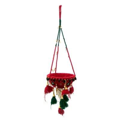 Indian Handmade Clothe Hanging Plant Art Basket Design