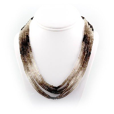 Superb Quality (AAA) 5 Row Smokey Quartz Faceted Neckla