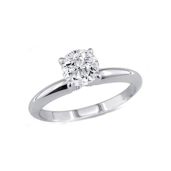 Certified 0.85 ct Round cut Diamond Solitaire Ring