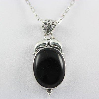 32.50ctw Black Onyx Gemstone Silver Pendant,108.06 MSRP