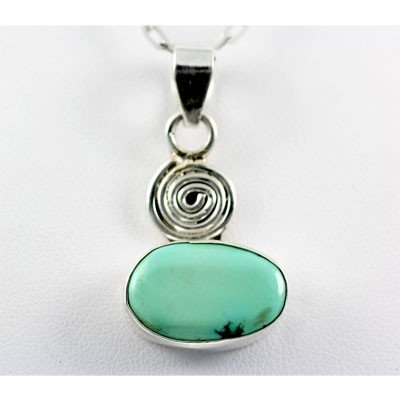 30.00ctw Turquoise Silver Pendant, 99.75 MSRP