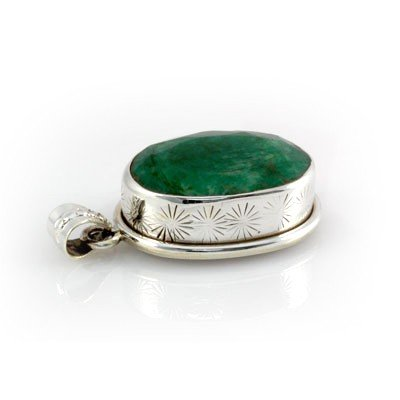 84.50ctw Fine Silver Bezel Emerald Gemstone Pendant,