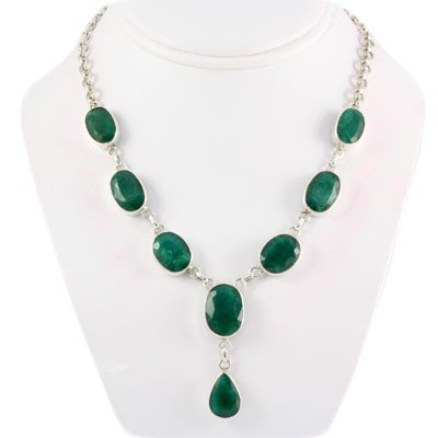221.50ctw Simple Made Emerald Gemstone Silver Necklace