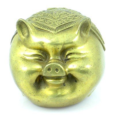 Brass Happy Chinese Pig Figurines Brings Goodluck in Mo