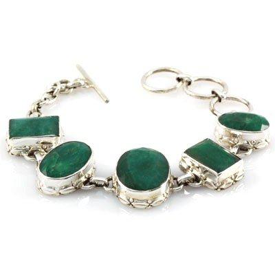 153.5ctw Antique Design Silver Emerald Bracelet